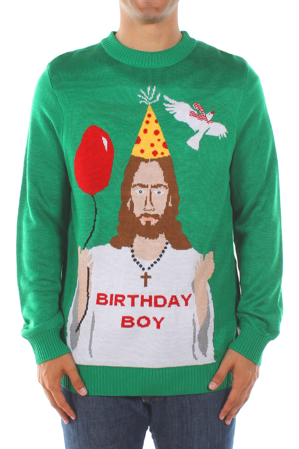 Christmas Sweaters - Men's Happy Birthday Jesus Sweater by Tipsy Elves