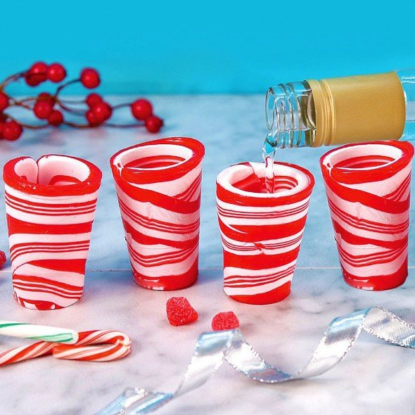 Edible Peppermint Candy Cane Shot Glasses
