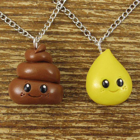 Poop and Pee Necklace Charms