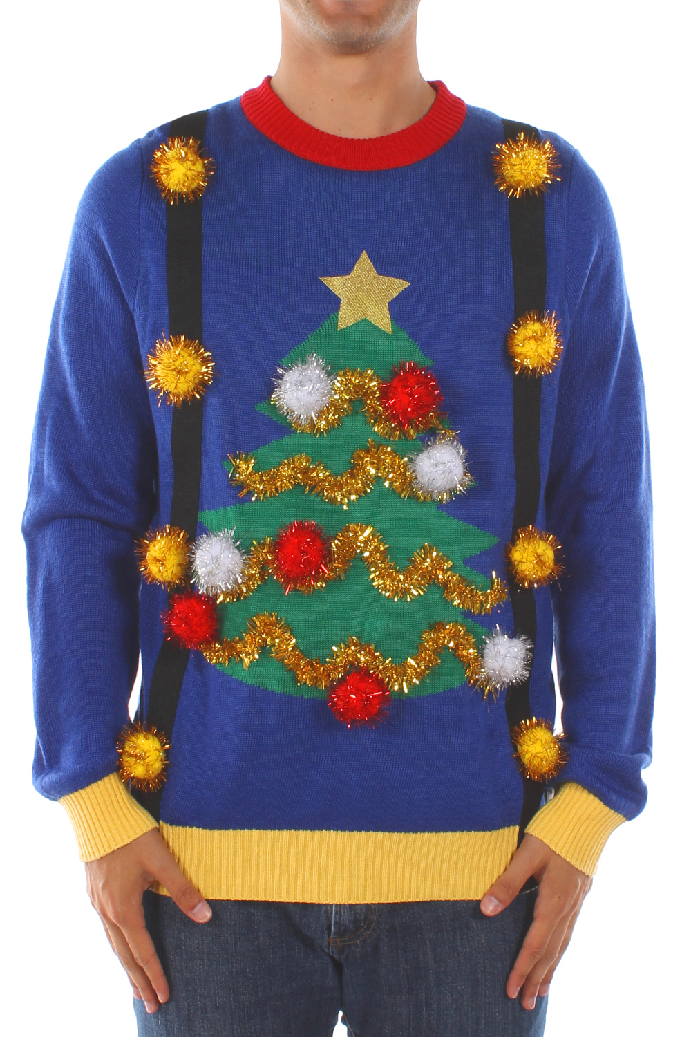 Christmas Sweaters - Men's Ugly Christmas Tree Sweater with ...