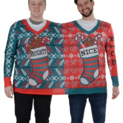 2 Person Naughty and Nice Ugly Christmas Tee
